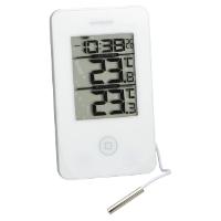 Inne- och utetermometer med klocka. Mäter högsta o… 1731070848d22